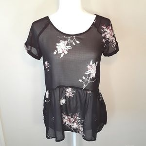 Xhilaration Sheer Black Blouse with Flowers S